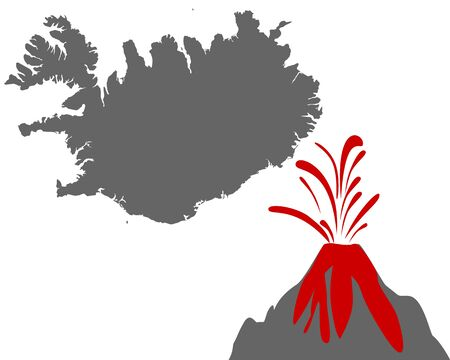Map of Iceland with volcano Vektorové ilustrace
