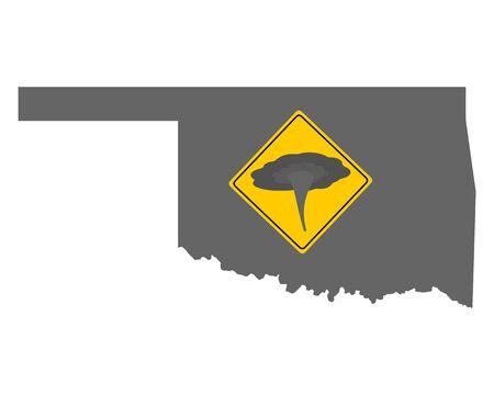 Map of Oklahoma and traffic sign tornado warning  イラスト・ベクター素材