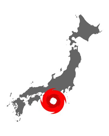 Map of Japan and hurricane symbol