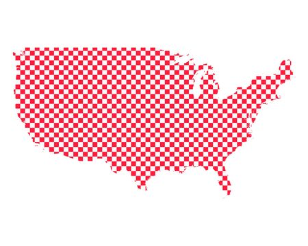 Map of the USA in checkerboard pattern Illusztráció