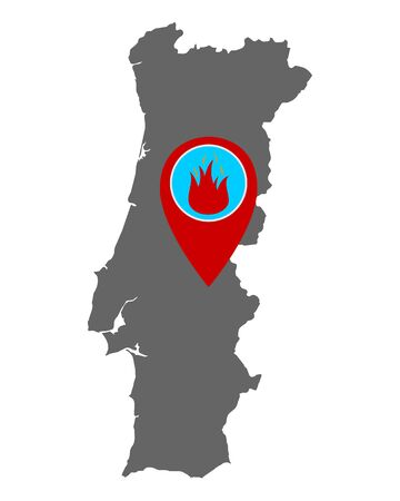 Map of Portugal and pin with fire warning  イラスト・ベクター素材