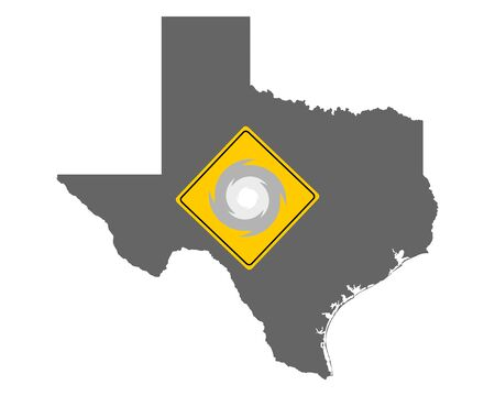 Map of Texas and traffic sign hurricane warning