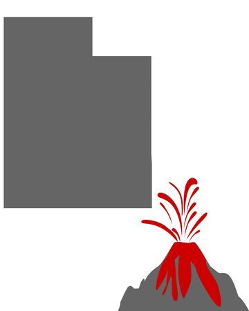 Map of Utah with volcano