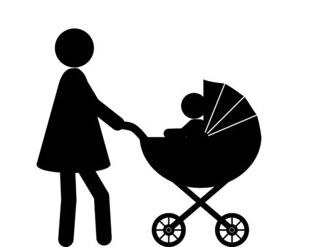 Woman and baby with baby carriage
