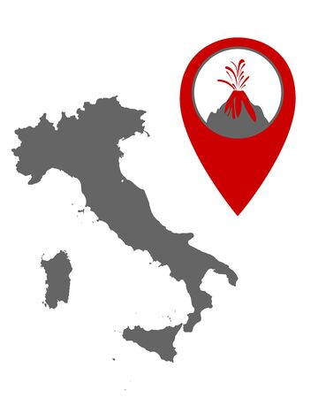 Map of Italy with volcano locator Illustration