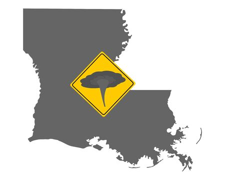 Map of Louisiana and traffic sign tornado warning