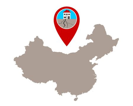 Map of China and pin with earthquake symbol