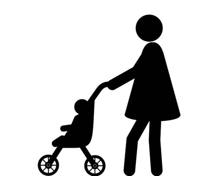 Woman and infant with buggy