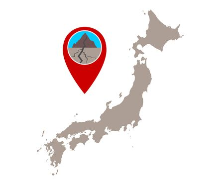 Map of Japan and pin with earthquake symbol