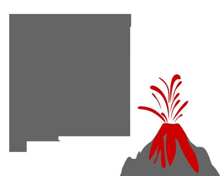 Map of New Mexico with volcano