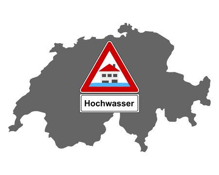 Map of Switzerland and traffic sign flood
