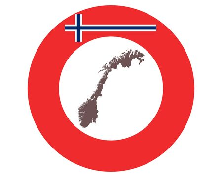 Map of Norway on background with flag Ilustrace