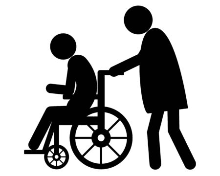 Old woman pushes wheel chair user