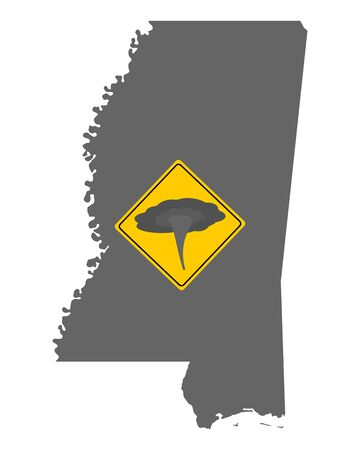 Map of Mississippi and traffic sign tornado warning