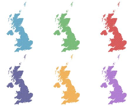 Maps of Great Britain on simple cross stitch