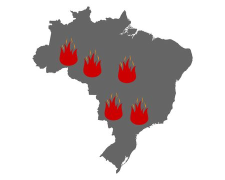 Map of Brazil and fire symbol