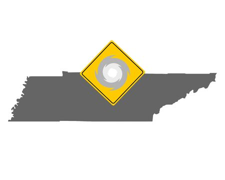 Map of Tennessee and traffic sign hurricane warning