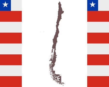 Map of Chile on background with flag Иллюстрация
