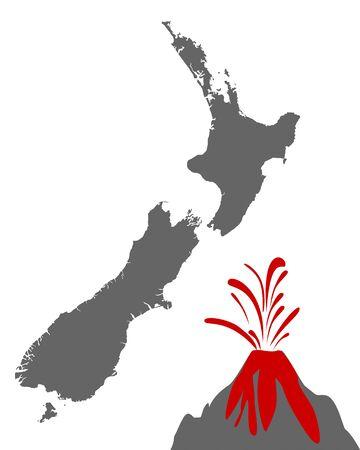 Map of New Zealand with volcano  Illusztráció