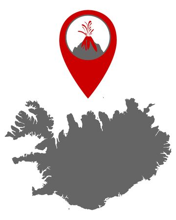 Map of Iceland with volcano locator