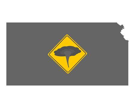 Map of Kansas and traffic sign tornado warning