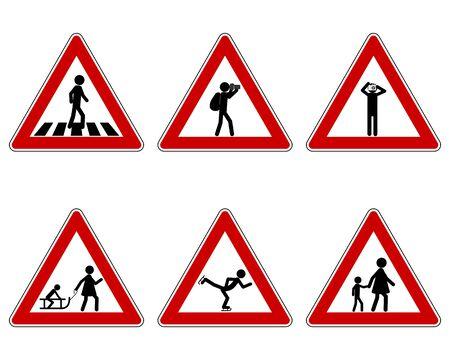 Verkehrswarnschild für verschiedene Sportarten