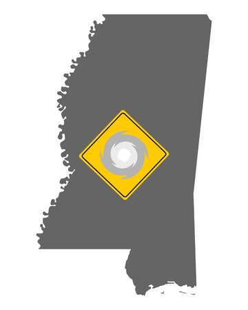 Map of Mississippi and traffic sign hurricane warning