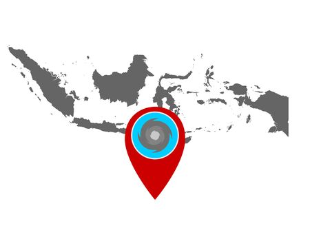 Map of Indonesia and pin with hurricane warning