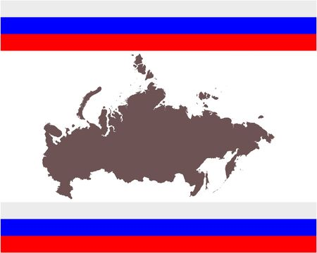 Map of Russia on background with flag
