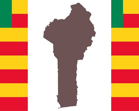 Map of Benin on background with flag
