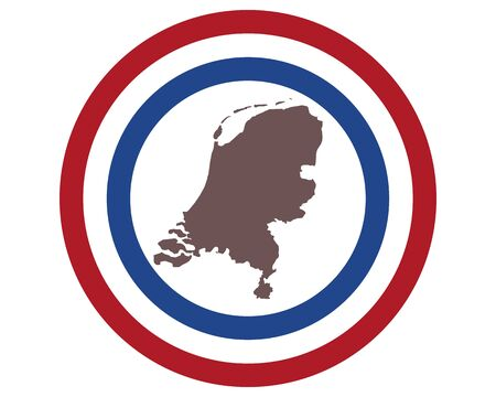 Map of the Netherlands on background with flag