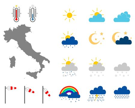 Map of Italy with weather symbols Stock fotó - 132084041