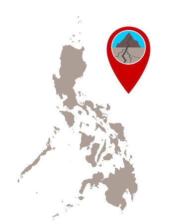 Map of the Philippines and pin with earthquake symbol 向量圖像