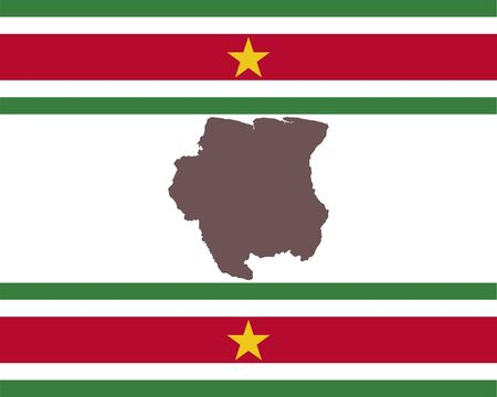 Map of Suriname on background with flag Stock Illustratie