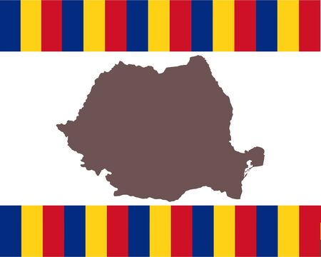 Map of Romania on background with flag