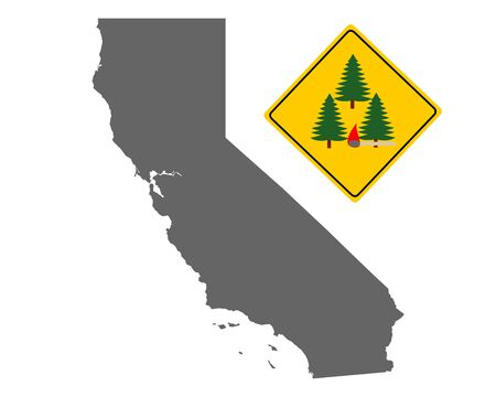 Map of California and pin with fire warning