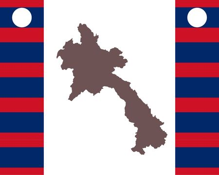 Map of Laos on background with flag