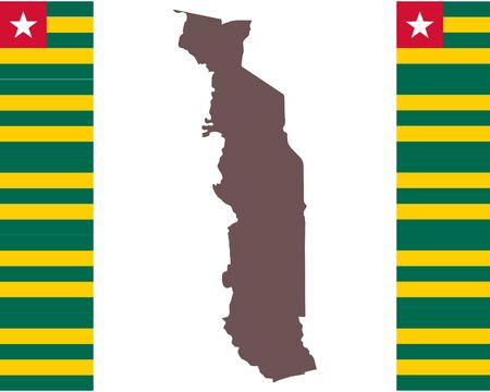 Map of Togo on background with flag