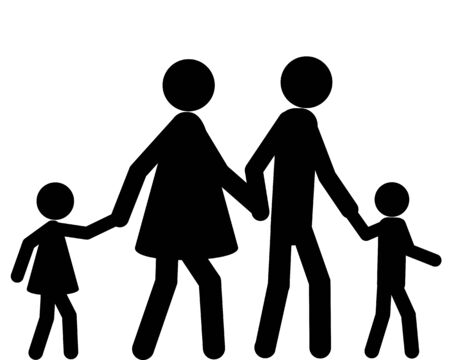 Family going for a walk hand in hand  イラスト・ベクター素材