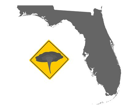 Map of Florida and traffic sign tornado warning Ilustração