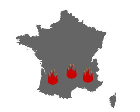Map of France and fire symbol