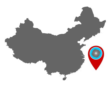 Map of China and pin with hurricane warning Ilustração