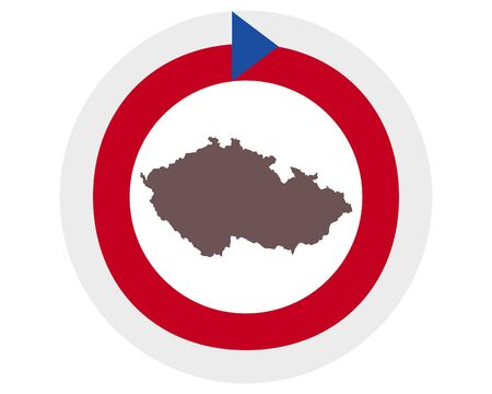 Map of Czech Republic on background with flag