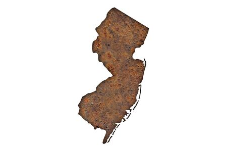 Map of New Jersey on rusty metal