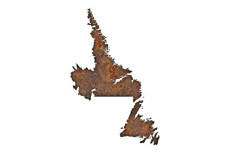 Map of Newfoundland and Labrador on rusty metal Banque d'images - 133231251