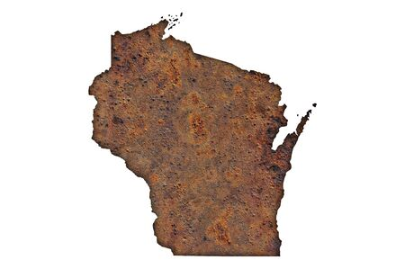 Map of Wisconsin on rusty metal