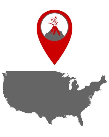 Map of the USA with volcano locator Çizim