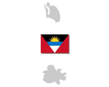 Flag and map of Antigua and Barbuda Illustration