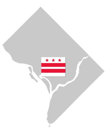 Flag and map of Washington D.C. as vector illustration