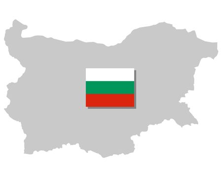 Flag and map of Bulgaria